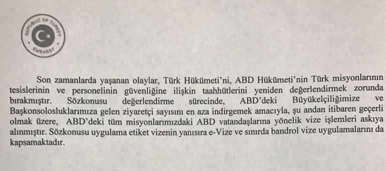 Türkiye'nin ABD Washington Büyükelçiliği'nden yapılan açıklama