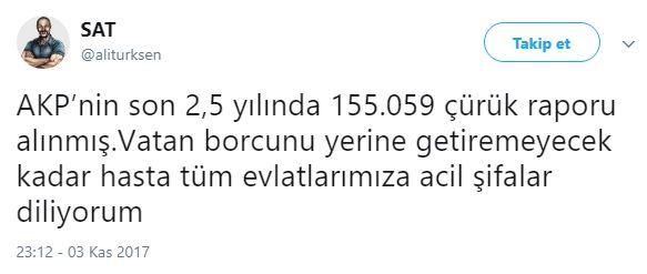 İyi Parti'ye katılan eski SAT komandosu ve Deniz Kurmay Albay Ali Türkşen de çürük raporu rakamlarına Twitter'dan şöyle tepki gösterdi
