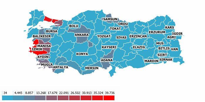 Türkiye organ bağışı haritası