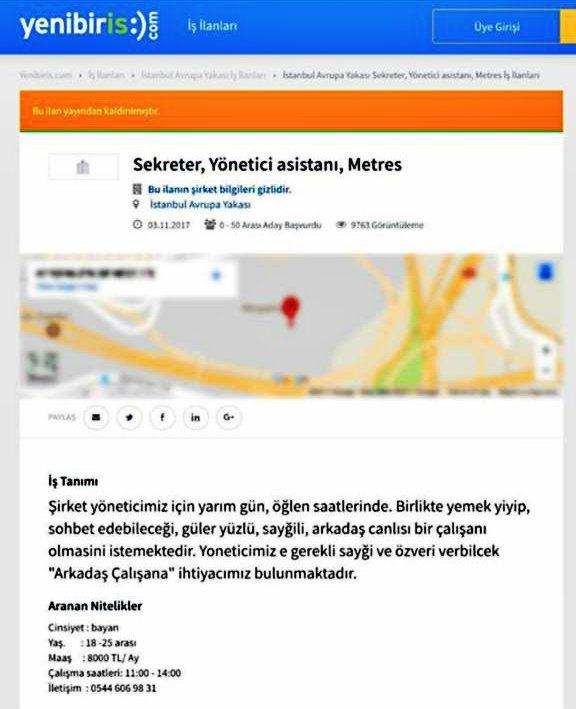 Yenibiriş iş ilan sitesinde 8 bin lira maaşla metres arıyor!
