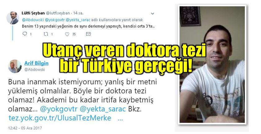 Utanç veren doktora tezi bir Türkiye gerçeği! erzincan üniversitesi erzurum