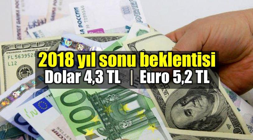 2018 yıl sonu dolar kuru beklentisi 4,3 TL, Euro kuru beklentisi 5,2 TL!