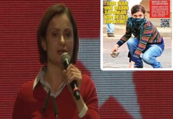 """Canan Kaftancıoğlu Fox TV'de yayınlanan İsmail Küçükkaya'nın sunduğu Çalar Saat programına bağlanarak """"taş atan kadın fotoğrafının"""" kendisi olmadığını belirtti."""