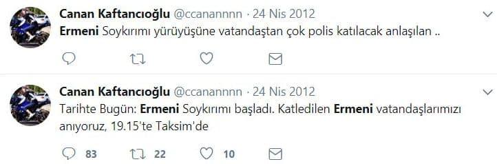 canan kaftancıoğlu twitter ermeni paylaşımı