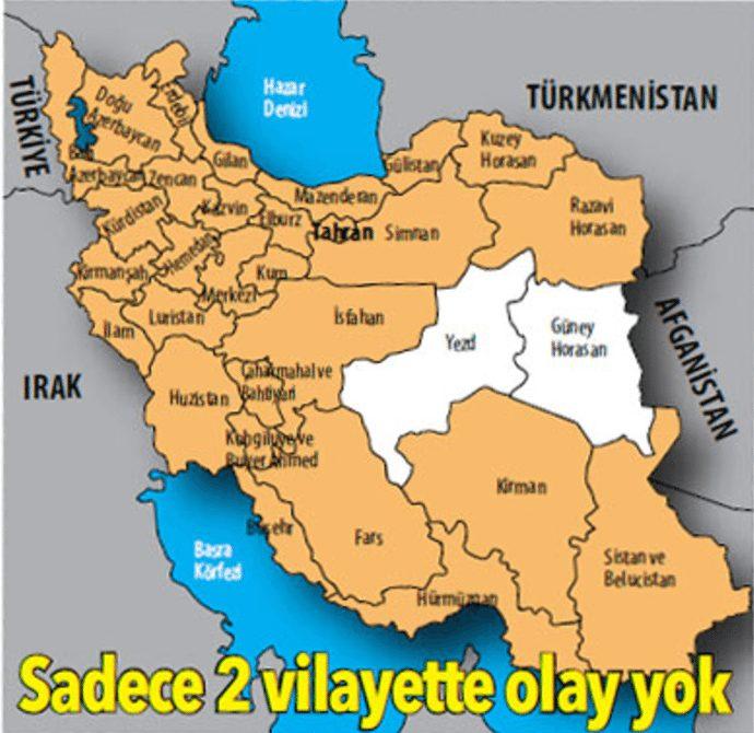 iran protesto eylemler son görüntüler video fotoğraf harita