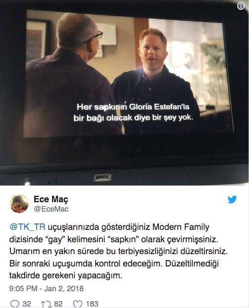 thy türk hava yolları gay eşcinsel kelimesi çeviri skandalı