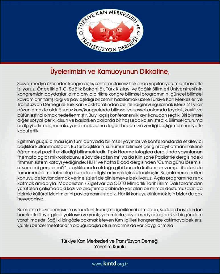 Türkiye Kan Merkezleri ve Transfüzyon Derneği vampirler neden uzun yaşar basın açıklaması