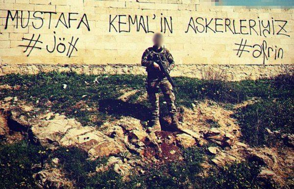 """Türkiye Cumhuriyeti tarihinde önemli bir yere sahip olan Raco bölgesine """"Mustafa Kemal'in askerleriyiz"""" mesajı bırakıldı."""