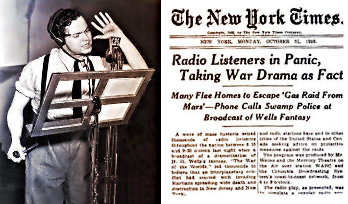 Orson Welles, H. G. Wells'in 'Dünyaların Savaşı' isimli romanı cbs