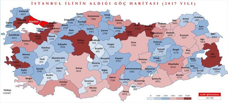 İstanbul'a göç haritası (TÜİK)