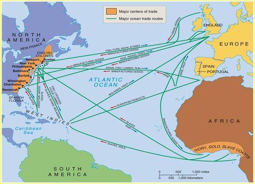köle ticaret gemileri harita rota avrupa afrika amerika