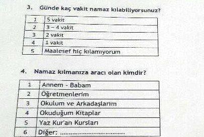 anadolu fen lise öğrencilerine namaz anketi