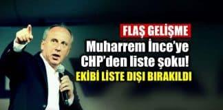 CHP den Muharrem İnce şok Ekibi Milletvekili aday listesinde yok!