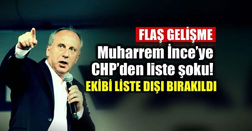 CHP den Muharrem ince şok Ekibi Milletvekili aday listesinde yok!