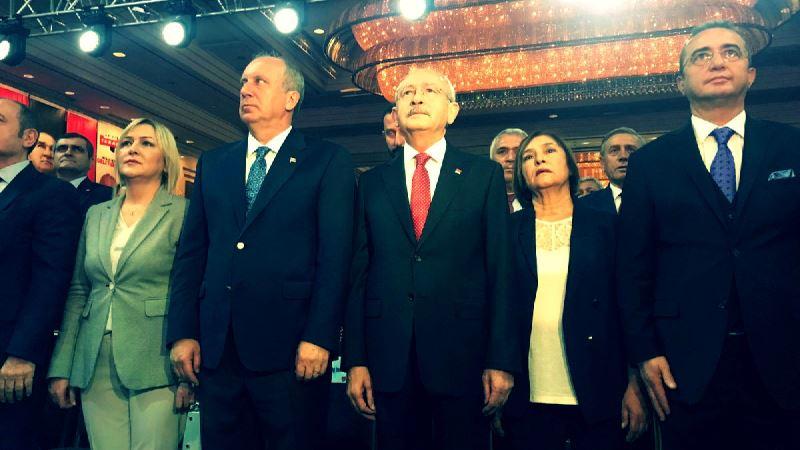 CHP'nin 24 Haziran Seçim Bildirgesi toplantısına Cumhurbaşkanı adayı Muharrem İnce de katıldı.