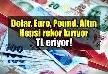 Dolar Euro Pound Altın: Hepsi rekor kırıyor - TL eriyor!