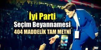 iyi Parti ve Meral Akşener seçim beyannamesi tam metni vaatler