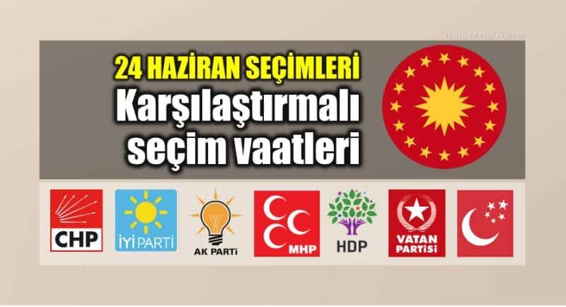 24 Haziran: Partilerin karşılaştırmalı seçim vaatleri