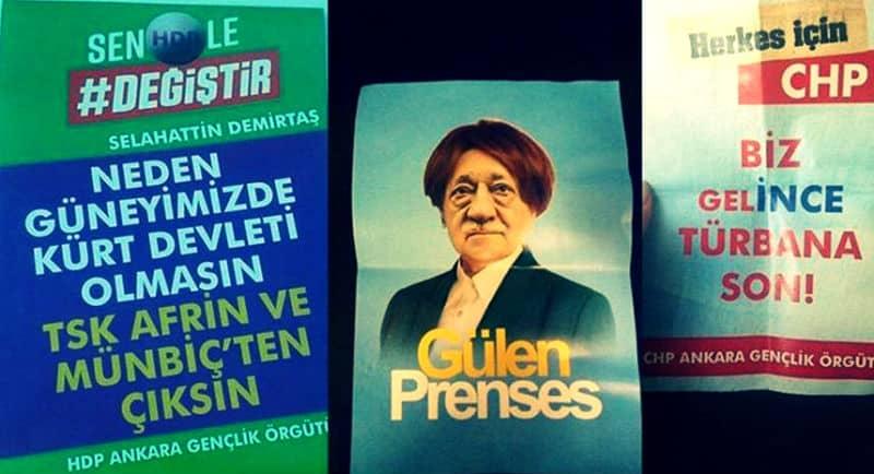 Ankara karalama broşürleri sokaklara asıldı muharrem ince iyi parti hdp chp