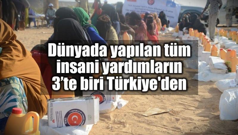 Dünyada yapılan tüm insani yardım üçte biri Türkiye'den