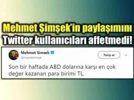 Mehmet Şimşek Twitter Dolar TL paylaşımı