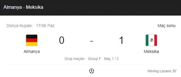 meksika almanya dünya kupası maç sonuçları