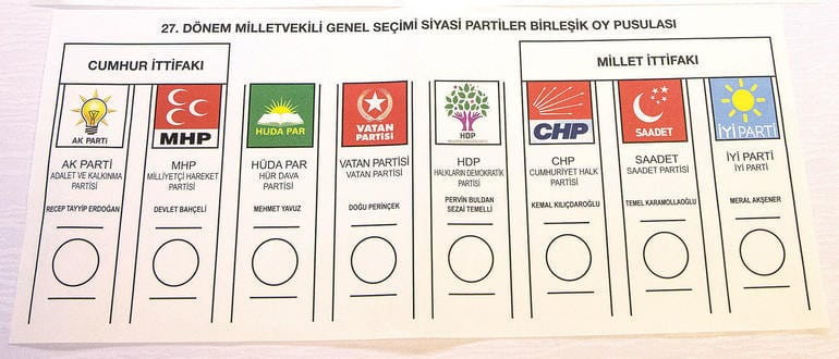 Milletvekili seçimi oy pusulası örneği: