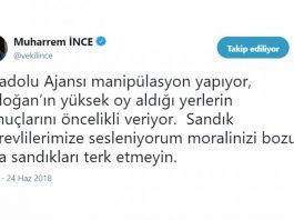 Muharrem ince Anadolu Ajansı için flaş açıklama