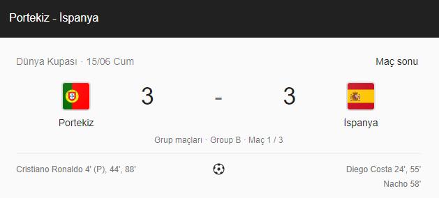 dünya kupası 2018 portekiz ispanya