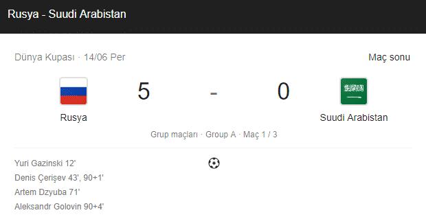 rusya suudi arabistan dünya kupası maç sonuçları