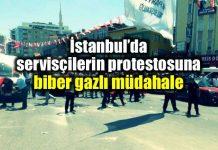 istanbul ataşehir servisçiler eylem yaptı polis biber gazıyla müdahale etti