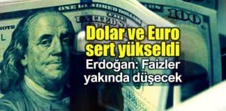 Dolar ve Euro yükseldi: Erdoğan faizlerin düşürüleceğini söyledi
