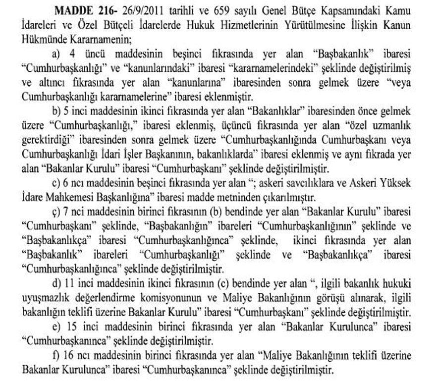 Cumhurbaşkanlığı sistemi uyumuna ilişkin ikinci KHK yayımlandı. 216. maddeki'Başbakanlık' ifadesi'Cumhurbaşkanlığı' olarak değiştirildi. Bakanlar Kurulu ifadesi ise kaldırılarak yerine'Cumhurbaşkanı' ifadesi eklendi.