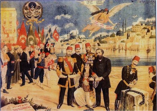 Namık Kemal ve Midhat Paşa didar-ı hürriyeti (hürriyetin güzel yüzü) ayağa kaldırırken Enver Paşa ve Resneli Niyazi Bey esaret zincirlerini kırıyor.