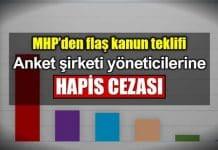 MHP kanun teklifi: Anket şirketi yöneticilerine hapis cezası