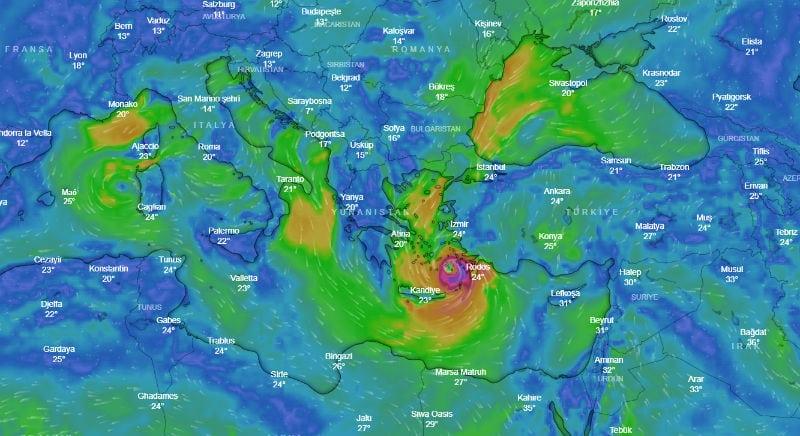 Meteoroloji Türkiye ege için kasırga uyarısı: Tropikal Medicane uydu haritası