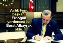 Türkiye Varlık Fonu yeni başkanı Erdoğan, yardımcısı berat Albayrak oldu