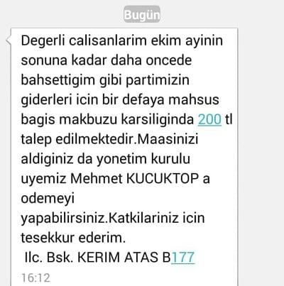 AK Parti Bozyazı İlçe Başkanı Kerim Ataş işe alınanlardan bağış 200 tl
