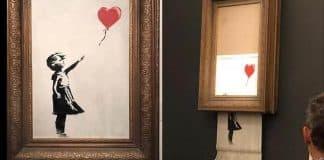 banksy kırmızı balonlu kız shredded sothebys
