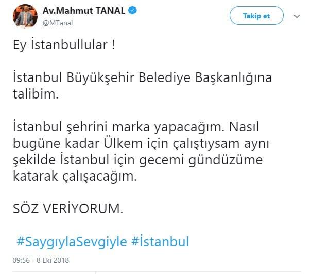 mahmut tanal istanbul belediye başkanlığı adaylığı açıklaması