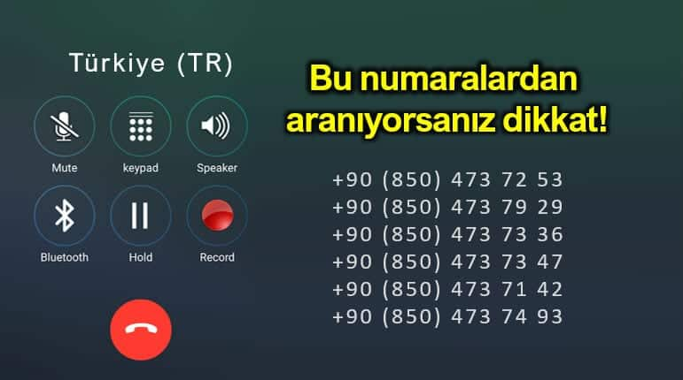 08504737253 nolu telefona dikkat! Dolandırıcılık uyarısı!