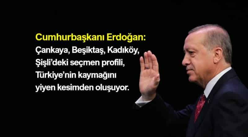 erdoğan: Çankaya, Beşiktaş, Kadıköy, Şişli seçmen profili, Türkiye'nin kaymağını yiyen kesimden oluşuyor.
