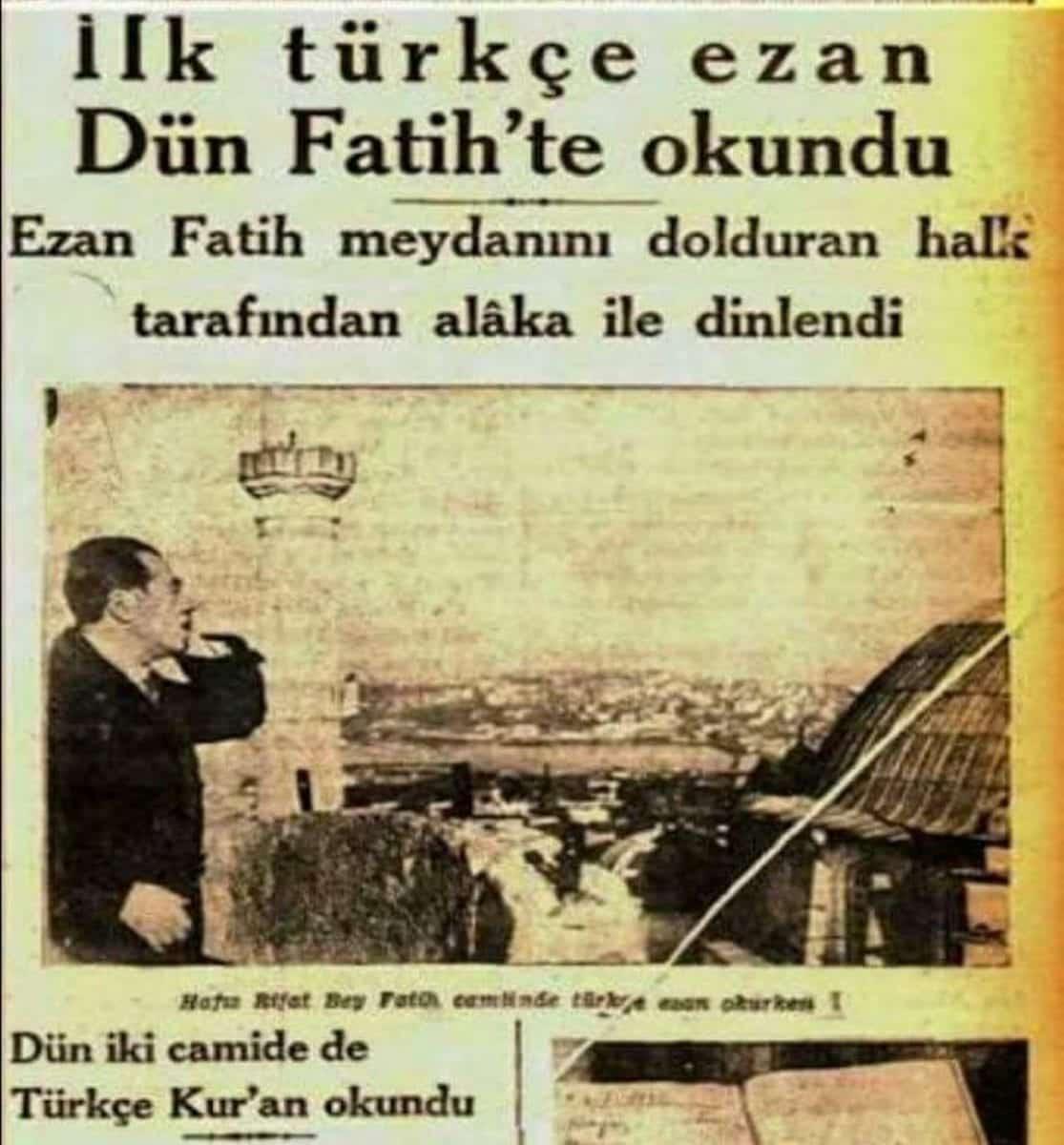 türkçe ezan ilk kez istanbul fatih'te okundu
