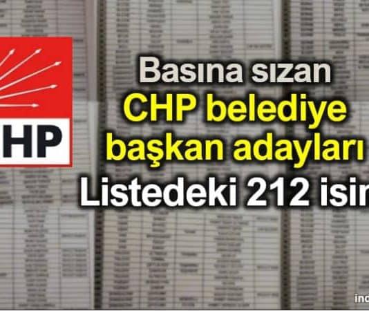 CHP belediye başkan adaylarının yer aldığı liste basına sızdı