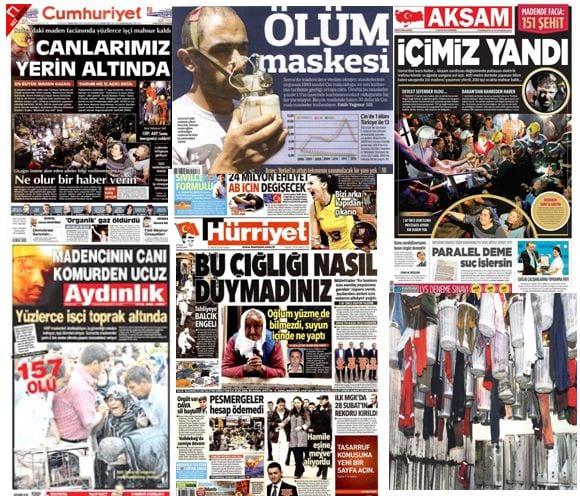 soma maden faciası kazası gazete manşetleri