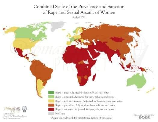 ülkelere göre kadınlara cinsel istismar suçları dünya haritası