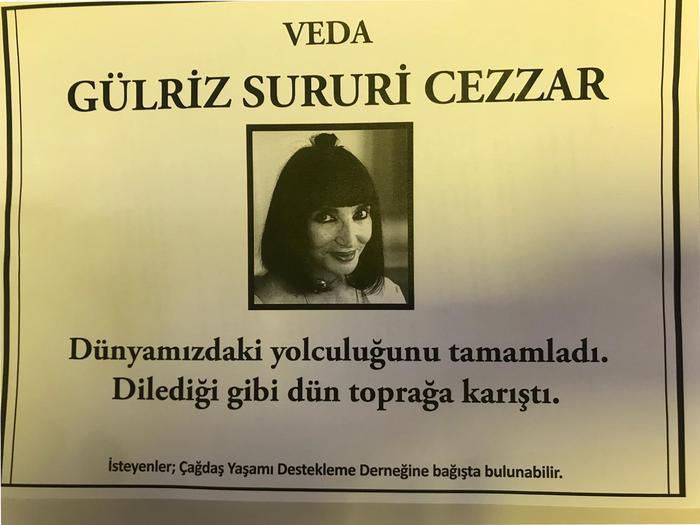 Gülriz Suriri vefat ilanı gazeteler
