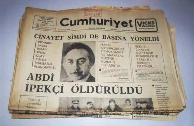 Abdi İpekçi süikasti cumhuriyet gazetesi manşet