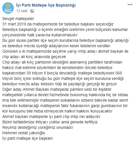 iyi parti maltepe ilçe başkanı mehmet vedat çakıroğlu ak parti mhp adayını destekledi ali kılıç ı eleştirdi
