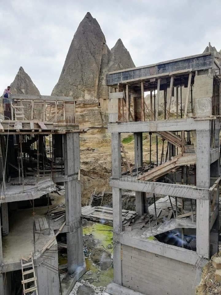 göreme peri bacaları otel inşaatı